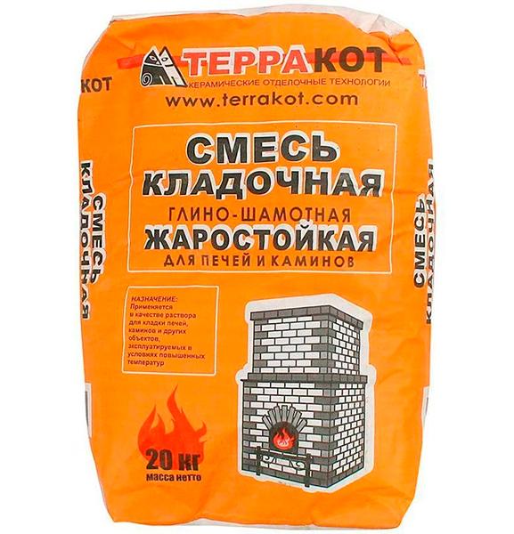TERRAKOT Смесь кладочная глино-шамотная (+1300 градудосв Цельсия) (20кг) (56)