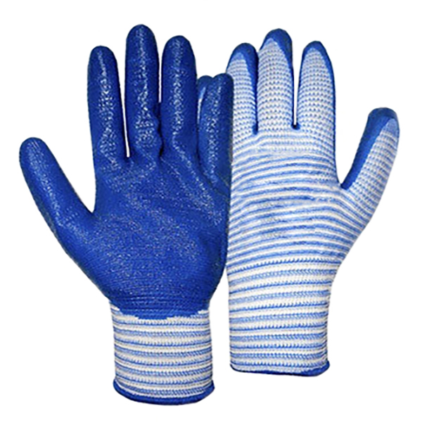 Перчатки нейлоновые с нитриловым покрытием (Синие)