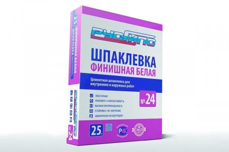 РусГипс №24, 25кг Шпаклевка цементная финишная пластичная БЕЛАЯ для вн. и наруж.работ (48шт)