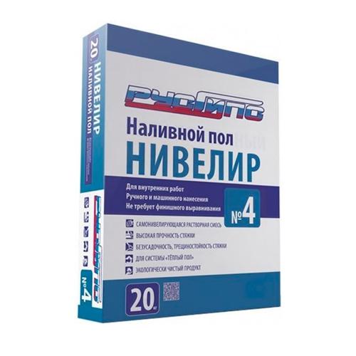 РусГипс №4, 20 кг НИВЕЛИР с кварцевым песком + для теплых полов (от 5 до 100мм) (48) (шт.)