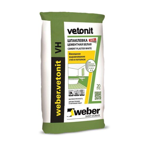Weber VH (WHITE)(Влагостойкая финишная цементная Шпаклёвка) (20 кг) (48) (шт)