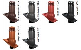 К98 Вентиляционный выход WiroVent (изолированный) D 125/110 мм Н 500 мм с проходным элементом для цементно-песчаной черепицы и с переходником 125/110 мм