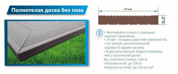 Террасная доска Террапол КЛАССИК полнотелая без паза 3000х147х24 мм
