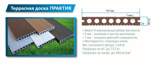 Террасная доска ПРАКТИК КОЭКСТРУЗИЯ Моноколор 4000 или 3000х147х23 мм