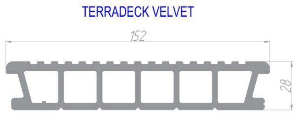 Террасная доска дпк TERRADECK VELVET 152x28мм